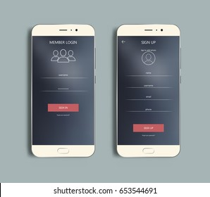 Mobile  Login And SIgn Up Forms, Ui Design. Vector