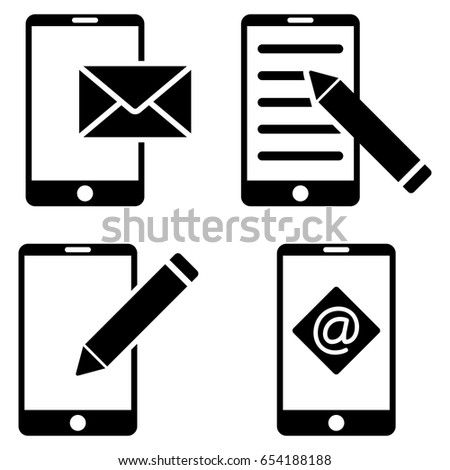 mobile mail editing vector icon clip stock vector royalty free