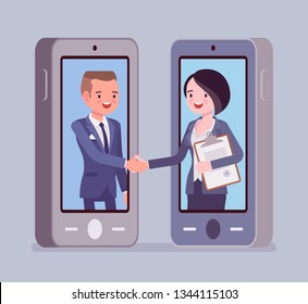 Mobile male and female deal, commercial business agreement. Contract signing, handshake via smartphone, modern safe technology and successful formal cooperation. Vector flat style cartoon illustration