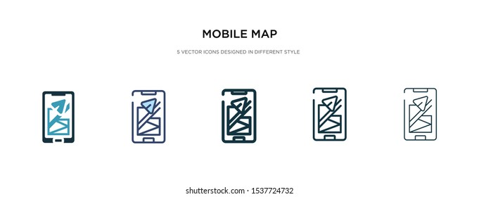mobile map icon in different style vector illustration. two colored and black mobile map vector icons designed in filled, outline, line and stroke style can be used for web, mobile, ui