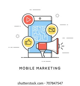 Mobile marketing, e-commerce, internet advertising and promotion. Flat line art style concept. Vector banner, icon, illustration. Editable stroke.