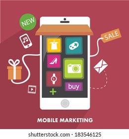 Mobile Marketing in Flat design