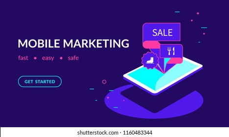Mobile marketing, offer personalizing and promotion. Flat vector neon website template and landing page design of isometric digital tablet with marketing tags on the screen