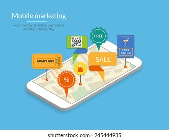 Mobile marketing and personalizing. Smartphone with map and tags to show the mobil market with shops and commercial offers