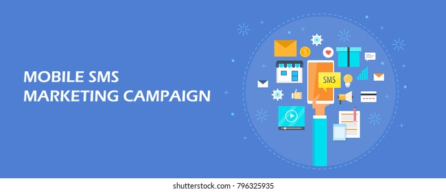 Mobile marketing, SMS marketing, Mobile content flat vector illustration with icons isolated on bluebackground