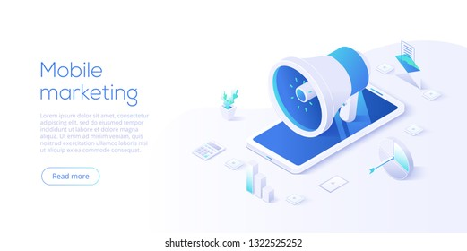 Mobile marketing vector business illustration in isometric design. Online internet promotion concept with smartphone. Website or webpage layout template.
