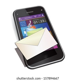 Mobile messaging: Touch screen mobile phone. Set of letter envelopes flies out from display. Vector illustration. Isolated on white background.