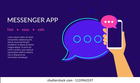 Mobile messenger app for texting messages to friends. Concept flat neon vector illustration of human hand holds smartphone with speech bubble on application for texting, sharing news and community