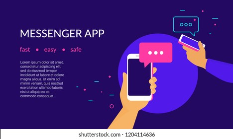 Mobile messenger app for texting messages to friends. Concept flat neon vector illustration of two human hands hold smartphones with speech bubbles on screen, they texting and sharing news