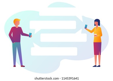 Mobile messenger concept. Man and a woman with smartphone in their hands use messenger. Vector illustration flat design. Isolated on white background. Clouds for text.