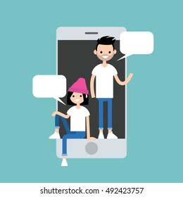 Mobile messenger concept. Millennial friends chatting inside the smart phone's screen / Editable flat vector illustration