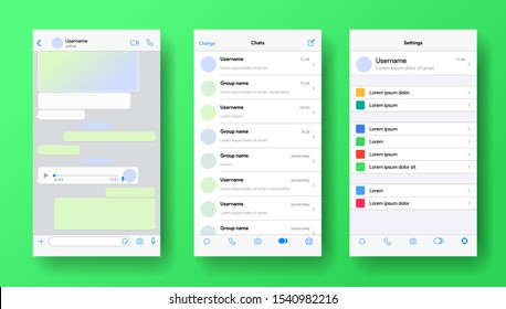 Mobile messenger screen. Whatsapp application mockup. Phone chat with voicemail or audio message. Whats App layout of private account for business. Vector illustration.