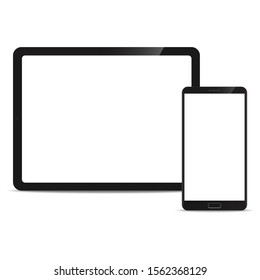 Mobile Mock up Tablet and Smartphone realistic style mockup device set icons for user interface applications and responsive mobile web design with a blank screen. Vector illustration