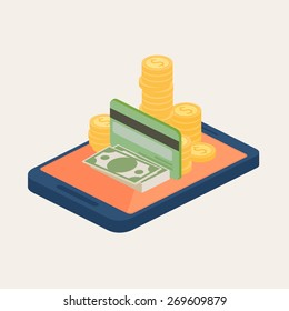 Mobile money or online banking concept with banknotes, gold coins and a credit card piled on the screen of a mobile phone or tablet, vector design element