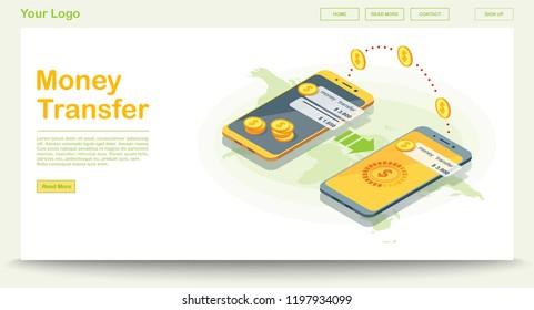 Mobile money transfer app web template. Online banking system. Mobile payment. Smartphone global transactions. E-money infographic. Digital wallet. Web, banner design. Isolated vector illustration