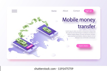 Mobile money transfer isometric vector illustration. Money transfer from and to wallet in isometric vector design. Capital flow, earning or making money. Online money transfer concept
