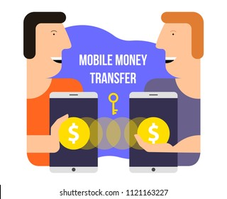 Mobile money transfer. Online banking. Vector illustration