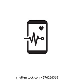 Mobile Monitoring and Medical Services Icon. Flat Design. Isolated smart phone with heart and cardiogram.