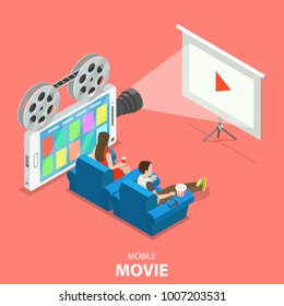 Mobile movie flat isometric vector concept. Couple is watching some movie using a smartphone, that looks like retro film projector.
