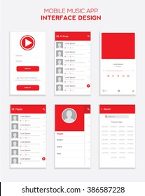 Mobile Music app ui material design. Vector