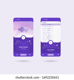 Mobile music application interface design concept. Smartphone with music media player interface template. Elegant design, EPS10