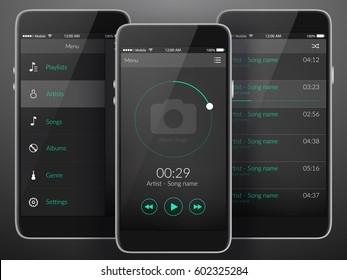 Mobile music application interface design concept in dark colors flat vector illustration