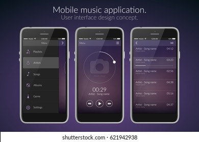 Mobile music application interface design concept isolated on dark background flat vector illustration