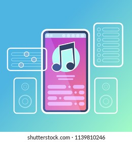 mobile music player application interface audio sound online concept for design work and animation flat vector illustration