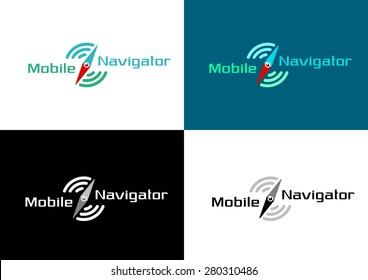 """Mobile Navigator"" Logo. Combination of a graphic symbols with a shapes of compass arrow and concentric arcs representing radiowaves. I've used simple ""self-made"" font"