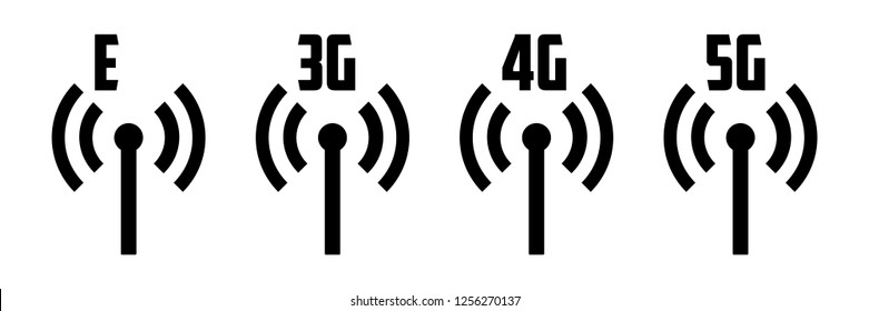 Mobile network icons. 2G 3G 4G 5G connection