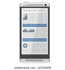Mobile news concept. Smartphone and newspaper. Reading online news on smartphone concept. Flat design.