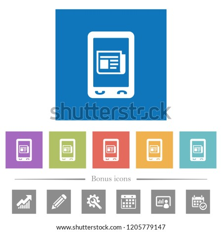 Mobile News Flat White Icons Square Stock Vector (Royalty