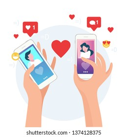 Mobile Online Dating Service Application. Hands Holding Smartphone with Man and Woman Profiles Romance App. Social Relationship Communication. Flat Cartoon Vector Illustration