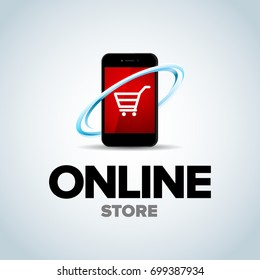 Mobile Online shop, mobile online store logo. Phone Logotype For business. isolated vector illustration.