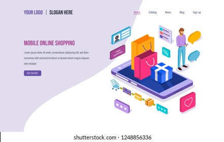 Mobile online shopping. Buying in store, mobile pay, payment of goods, gifts, delivery, reviews, e-commerce, shopping online using mobile app on smartphone. Landing page template. Isometric vector.