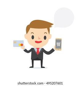 Mobile Online Shopping marketing boy on white background