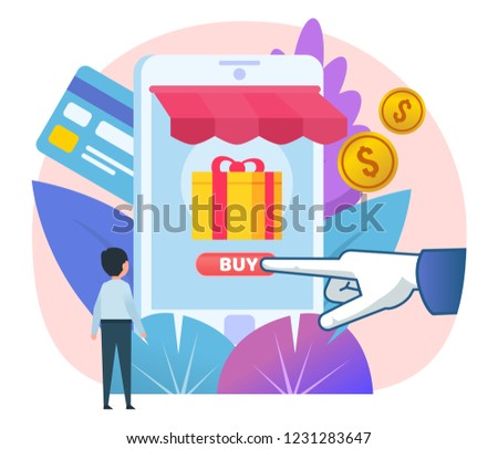 028e8b81ca11 Mobile Online Shopping One Click Hand Stock Vector (Royalty Free ...