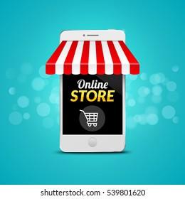 Mobile Online Store concept. Vector illustration business design. Electronic online shop market. Digital marketing