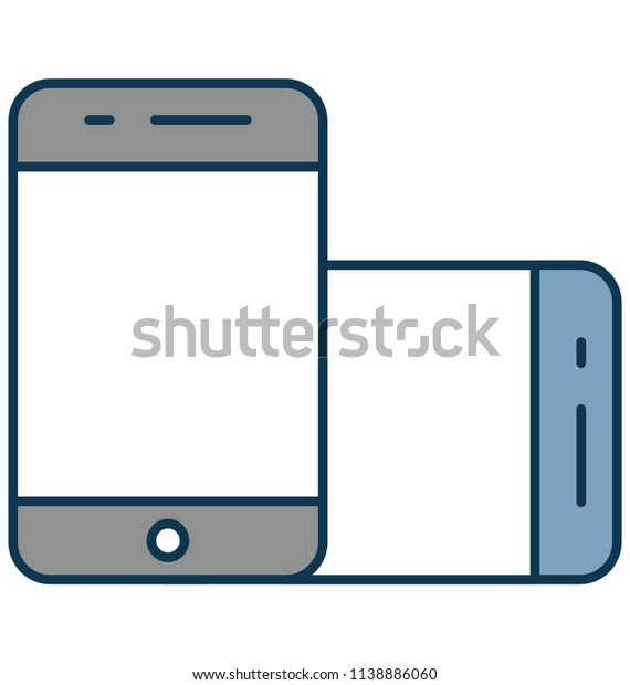 Mobile Outline Isolated Vector Icon Fully Editable