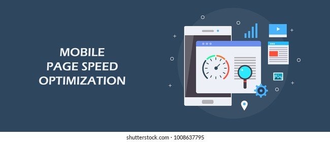 Mobile page speed optimization, Page speed, Loading time flat vector illustration