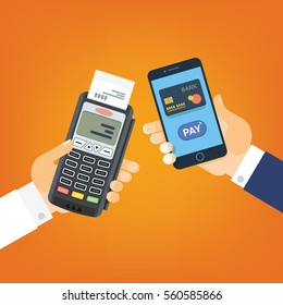 Mobile Pay, payment for services, shopping and entertainment. Hand with phone and payment terminal. Vector illustration, flat style.