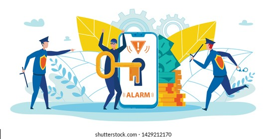 Mobile Payment, Banking Service Operation Safety Flat Vector Concept. Policemen, Guards Running to Catch Thief Trying to Pick Key and Steal Personal, Confident Information on Smartphone Illustration