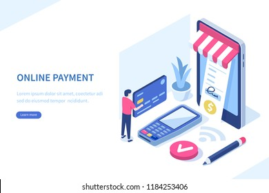Mobile payment concept with character. Can use for web banner, infographics, hero images. Flat isometric vector illustration isolated on white background.