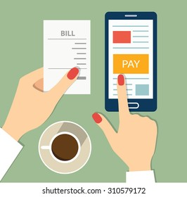 Mobile payment concept. flat vector illustration