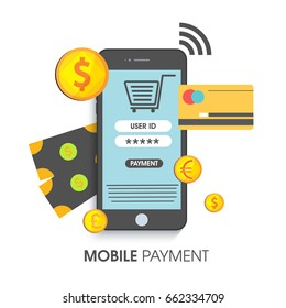 Mobile Payment concept with illustration of smartphone, credit card and golden coins.