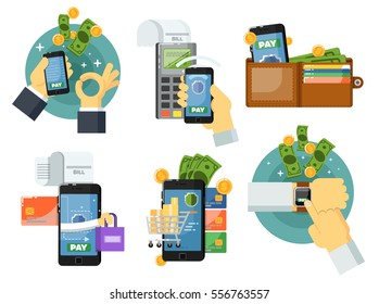 Mobile payment concept isolated vector illustration. POS terminal confirm, NFC payment, money transferring via smartphone app, online banking and shopping, e-commerce. Mobile payment service set