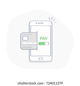 Mobile payment concept, money transfer, pay wireless with credit card on smartphone. Outline style icon on white background