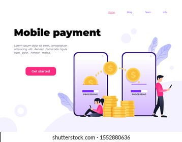 Mobile Payment concept, People character transfer money for online shopping on smartphone. Suitable for web landing page, ui, mobile app, banner template. Vector Illustration