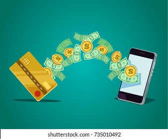 Mobile payment concept. Vector flat cartoon illustration