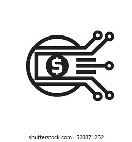 Mobile payment. Digital money dollar - vector logo template illustration. Currency - creative sign. Design element.